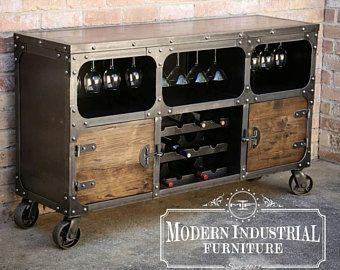 Modern Industrial Wine Cabinet | Credenza Bar Storage | Liquor Cabinet |  Buffet | Sideboard