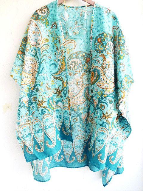Turquoise Kimono Cardigan, Paisley Kimono, Beach coverup, Boho ...