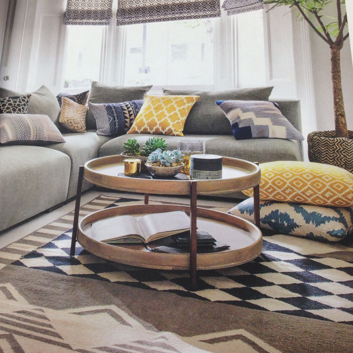 Love The Blue And Yellow Skandi Style Cushions With The Grey Sofas Colour Pop Living Room Inspiration Grey Cushions On Sofa Grey Sofa Living Room