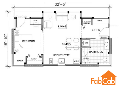 The floor plan of the TimberCab 550 features a separate bedroom ...