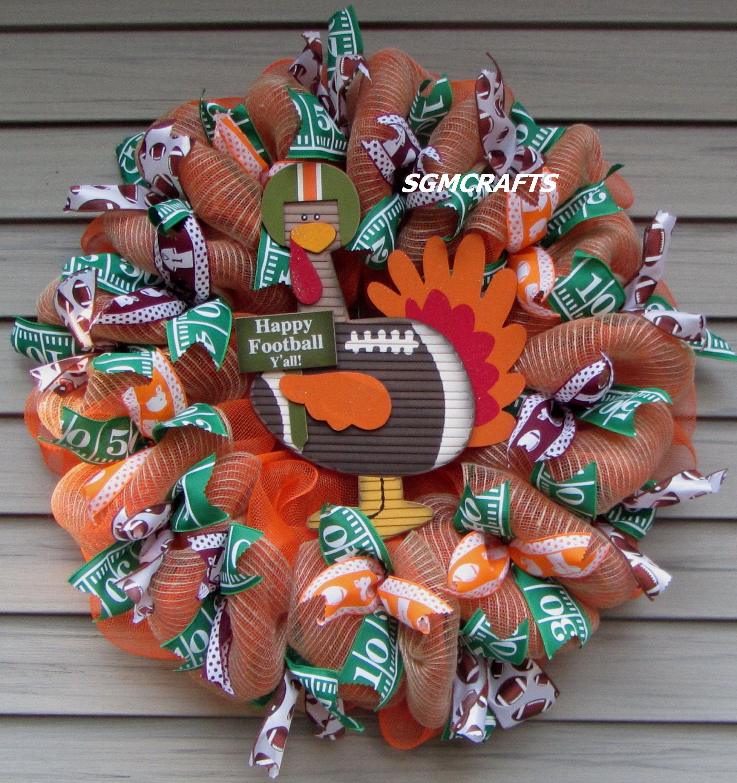 Fall Football Wreath Virginia Tech Hokies Football Wreath Vt Etsy In 2020 Football Wreath Fall Football Hokies Football