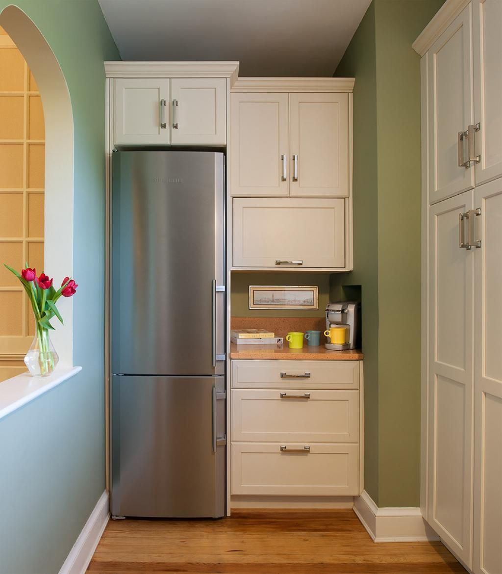 narrow long kitchen design with refrigerator corner beside