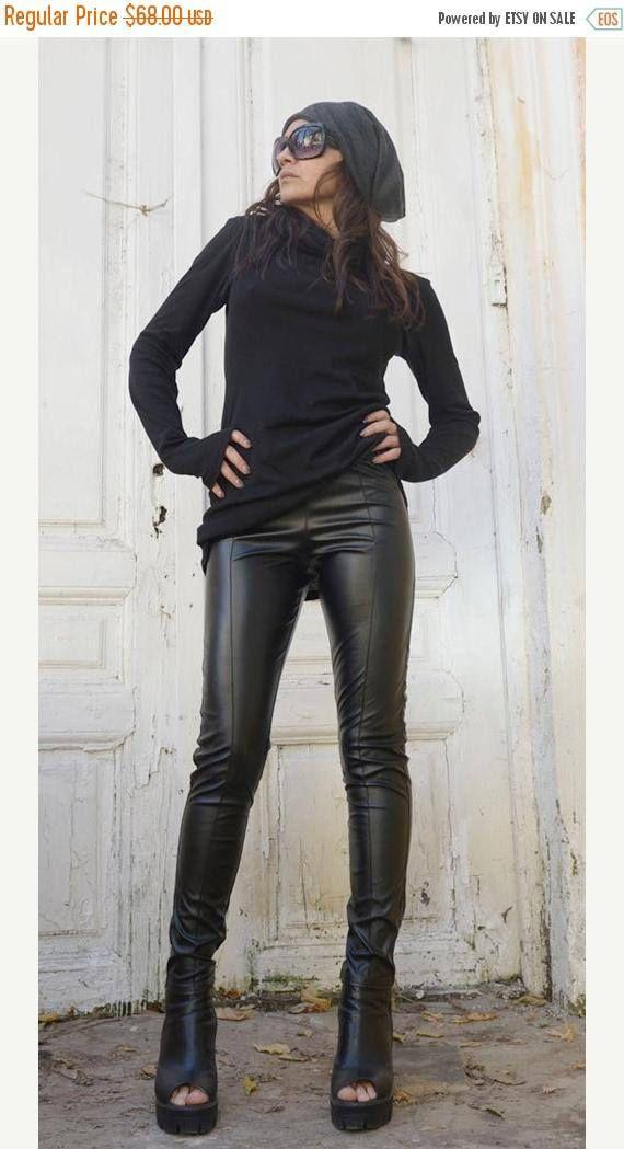 20% OFF Black Leather Pants /Tight Extra Long Leggings /Slim Fit Black Pants / Long Black Pants /Leather Leggings / Vegan Leather Pants METP