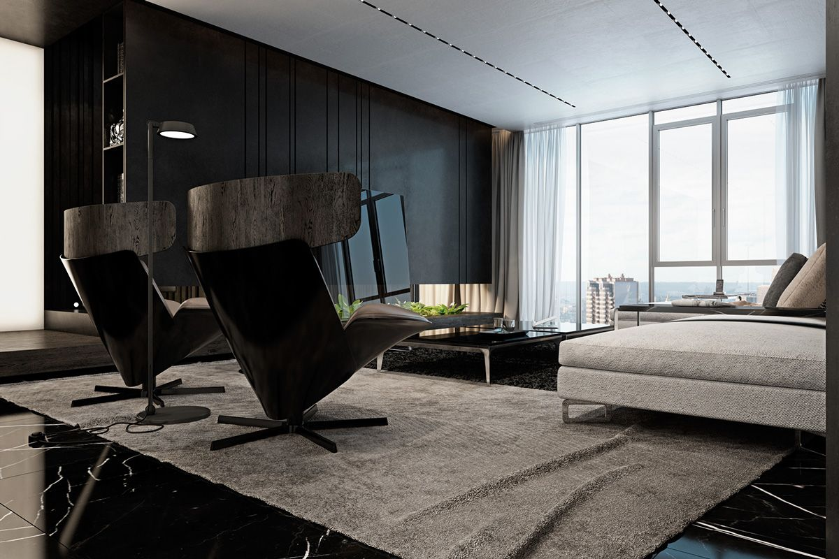 slate, ebony, leather – luxurious materials like these are the