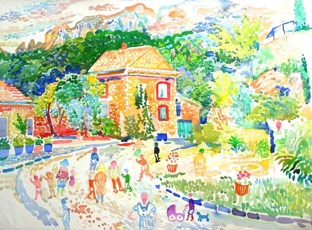 Road to Les Pilles Watercolour 56 x 76 cms