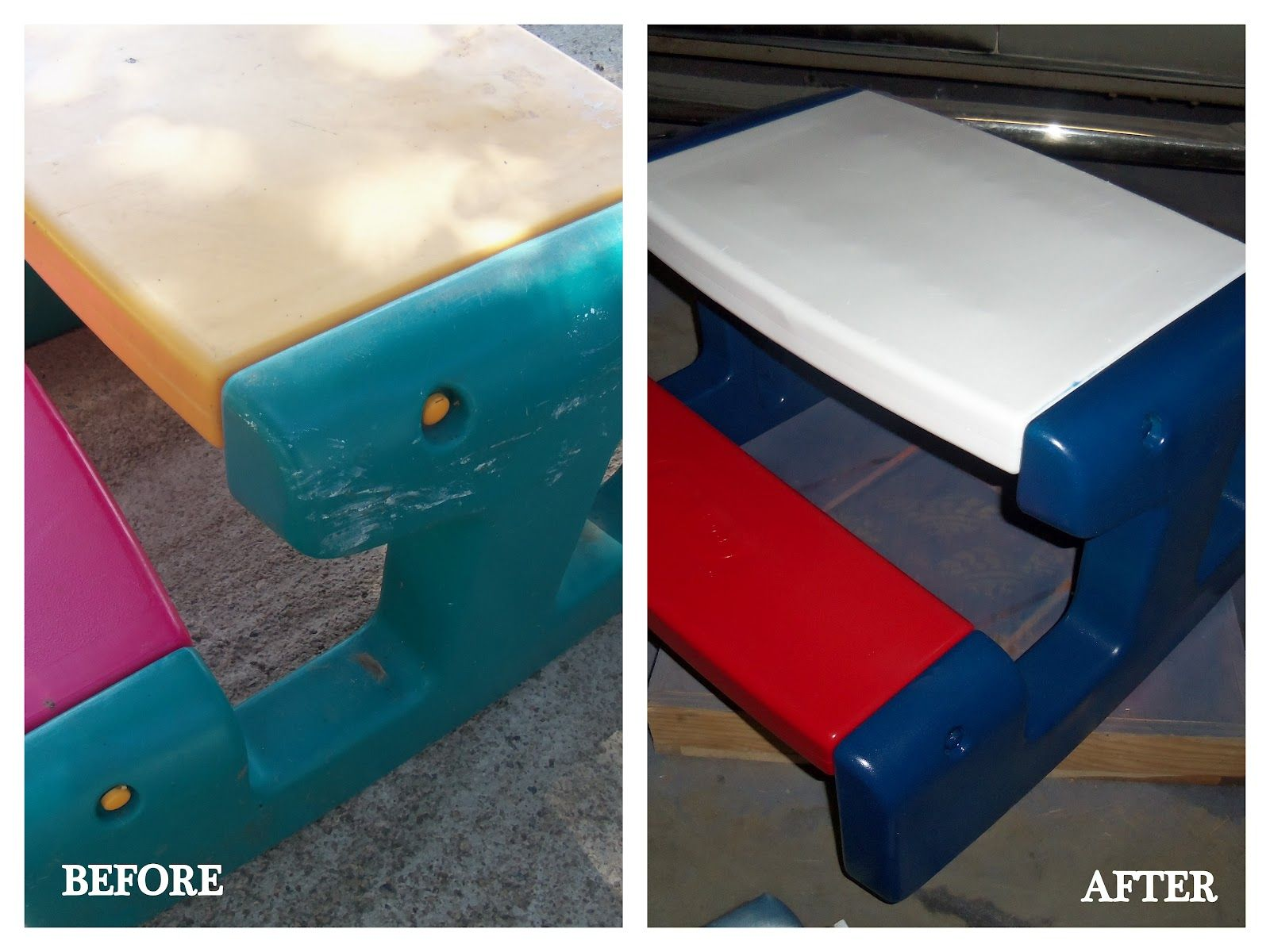 Diy Project Spray Paint Plastic Little Tikes Outdoor Toys Table And Chairs Toys And Ikea