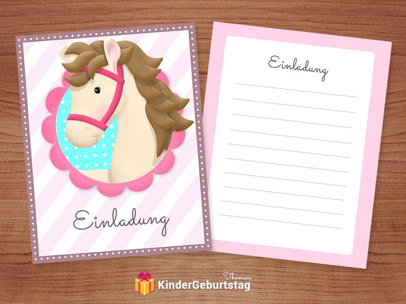 Pferde Einladungskarten zum Kindergeburtstag kostenlos en
