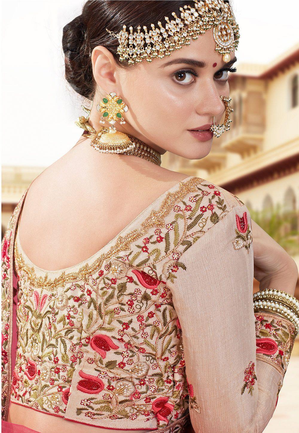 ea927cec8c Buy Cream banarasi silk Indian wedding lehenga in UK, USA and Canada ...