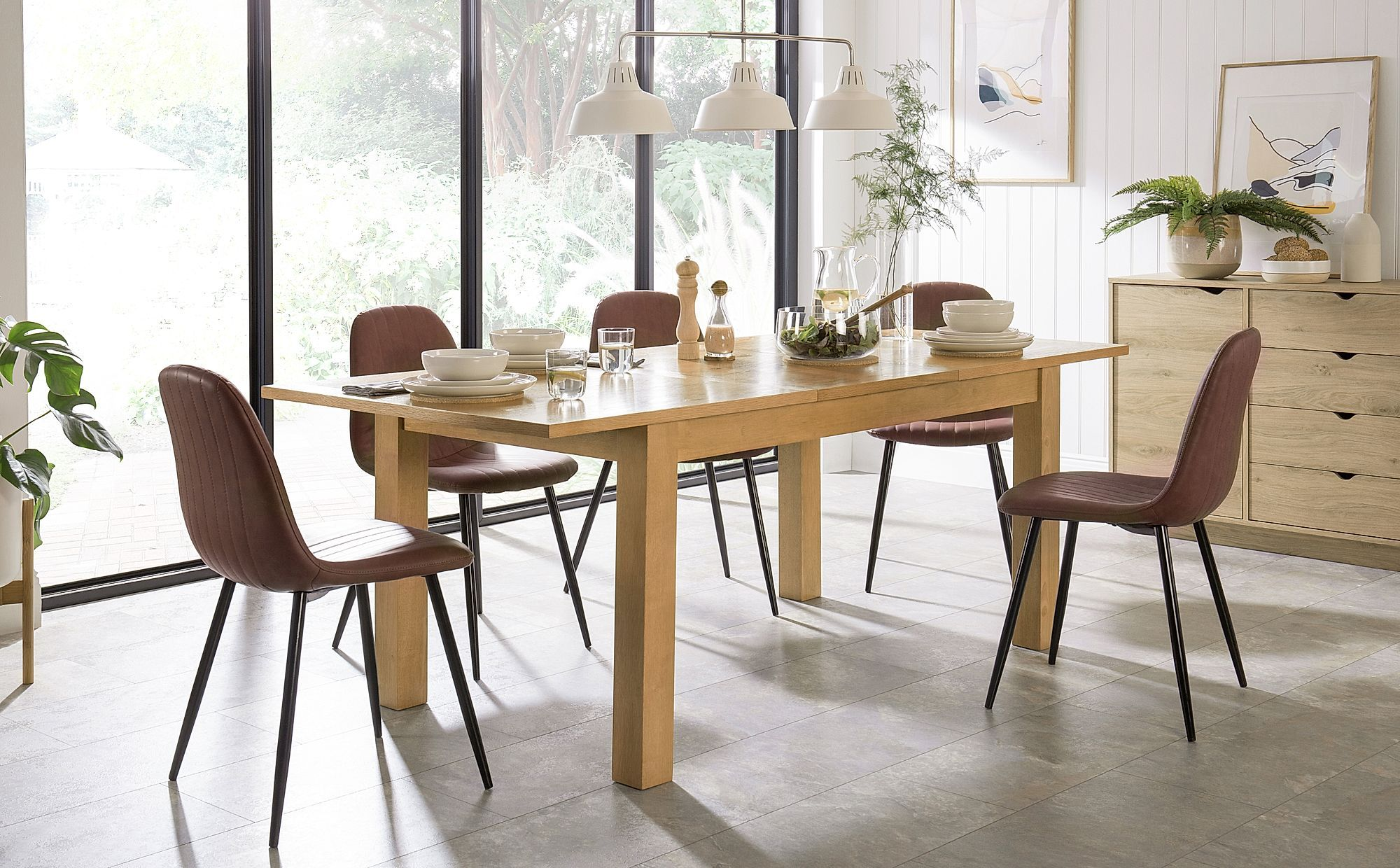 Hamilton 150 200cm Oak Extending Dining Table With 4 Brooklyn Tan