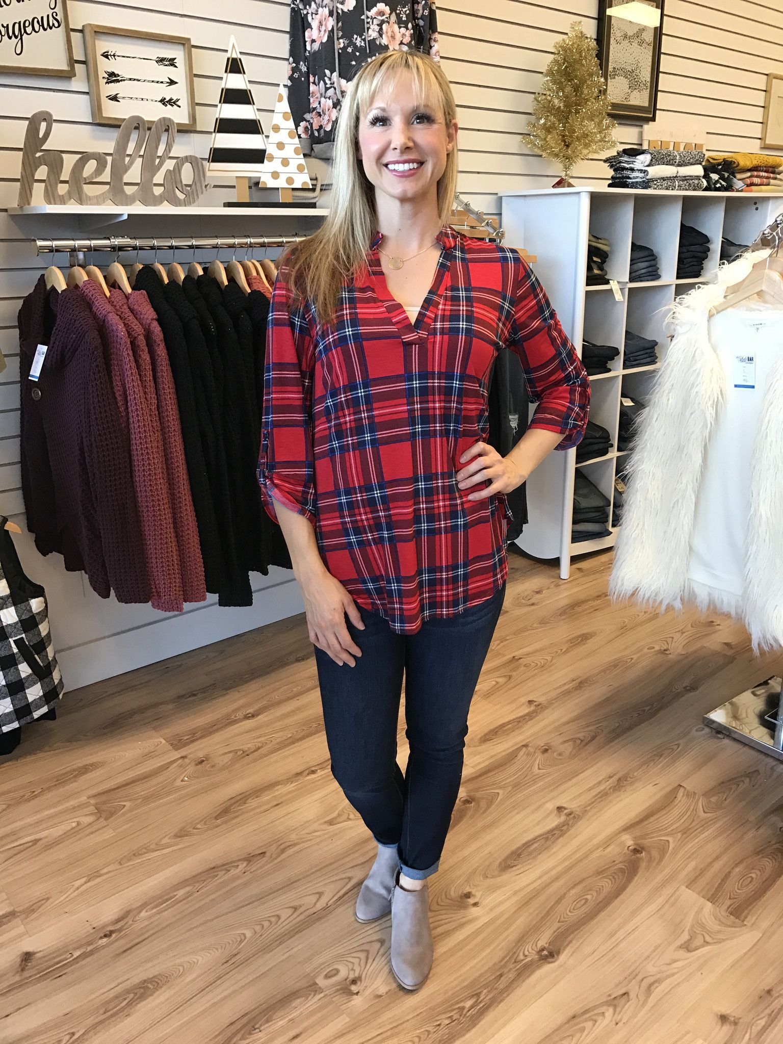 Holiday Plaid 3/4 Sleeve Top-Red/Navy