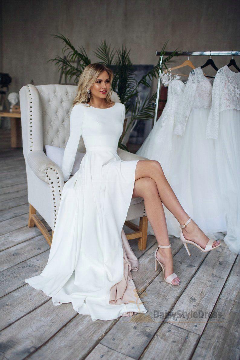 Informal Long Sleeve High Low V Back Boho Wedding Dress Etsy Wedding Dress Wedding Dresses Simple Wedding Dress Long Sleeve [ 1191 x 794 Pixel ]