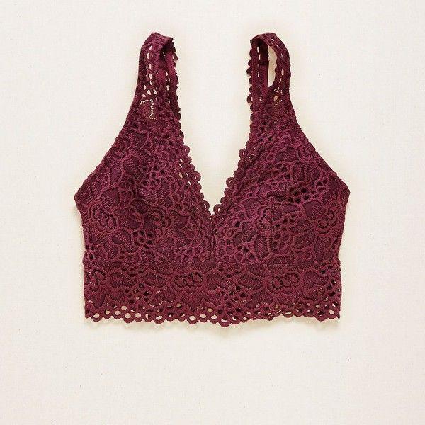 Crochet Lace Bra ~ Bralette Aerie Racerback Hot Pink HAPPY