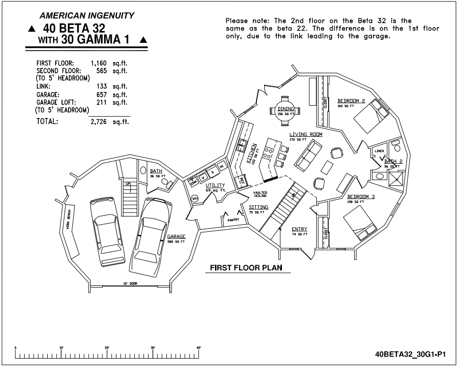 Geodesic dome home plans aidomes plan 40 39 beta 32 30 for Geodesic home plans