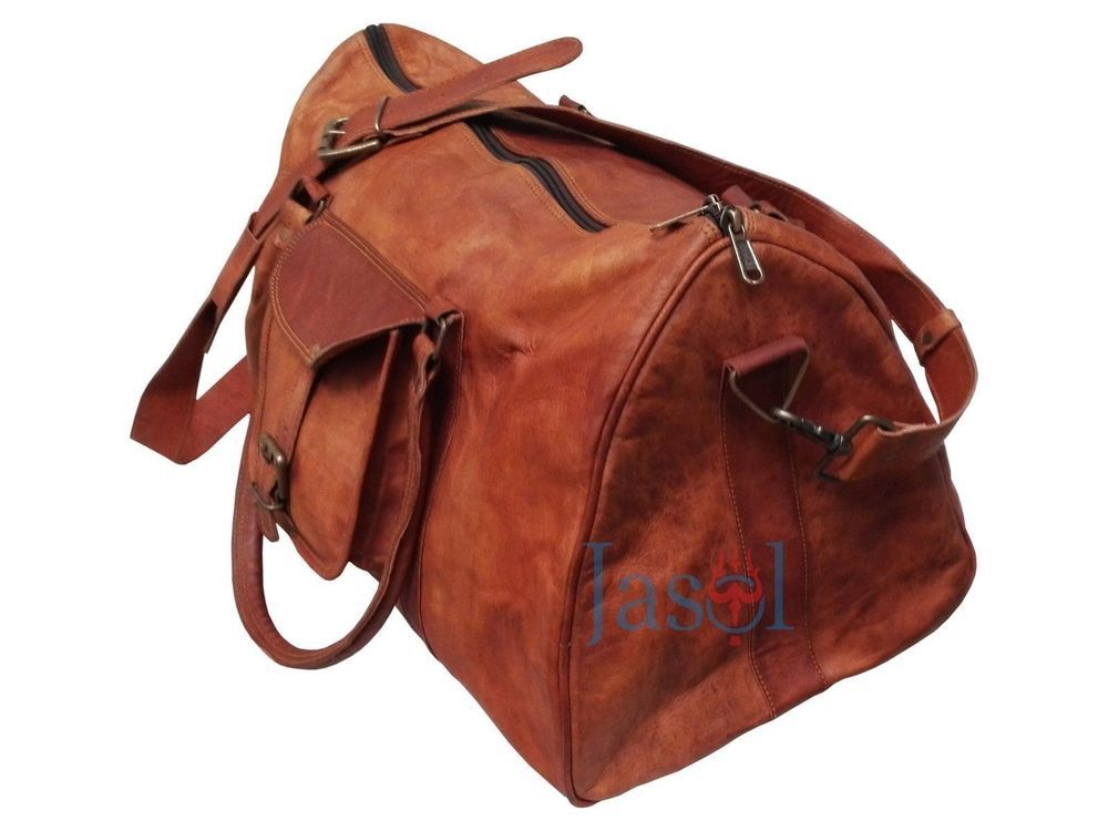 ae2d31a1bb Men s genuine Leather large vintage duffle travel gym weekend overnight bag  20