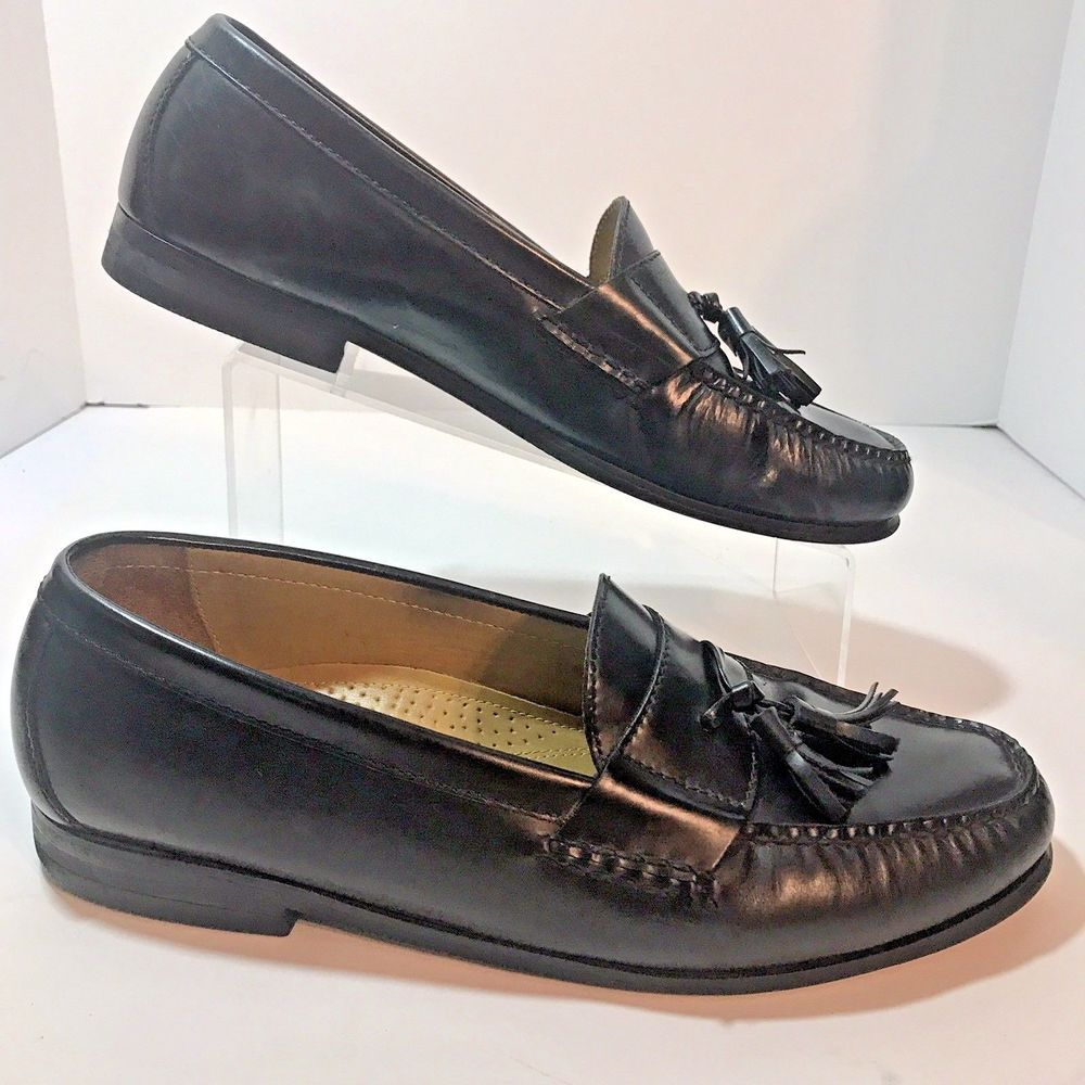 354837d1768 Cole Haan Black Sz 11 M Leather Pinch Tassel Moc Toe Dress Loafer EU 45