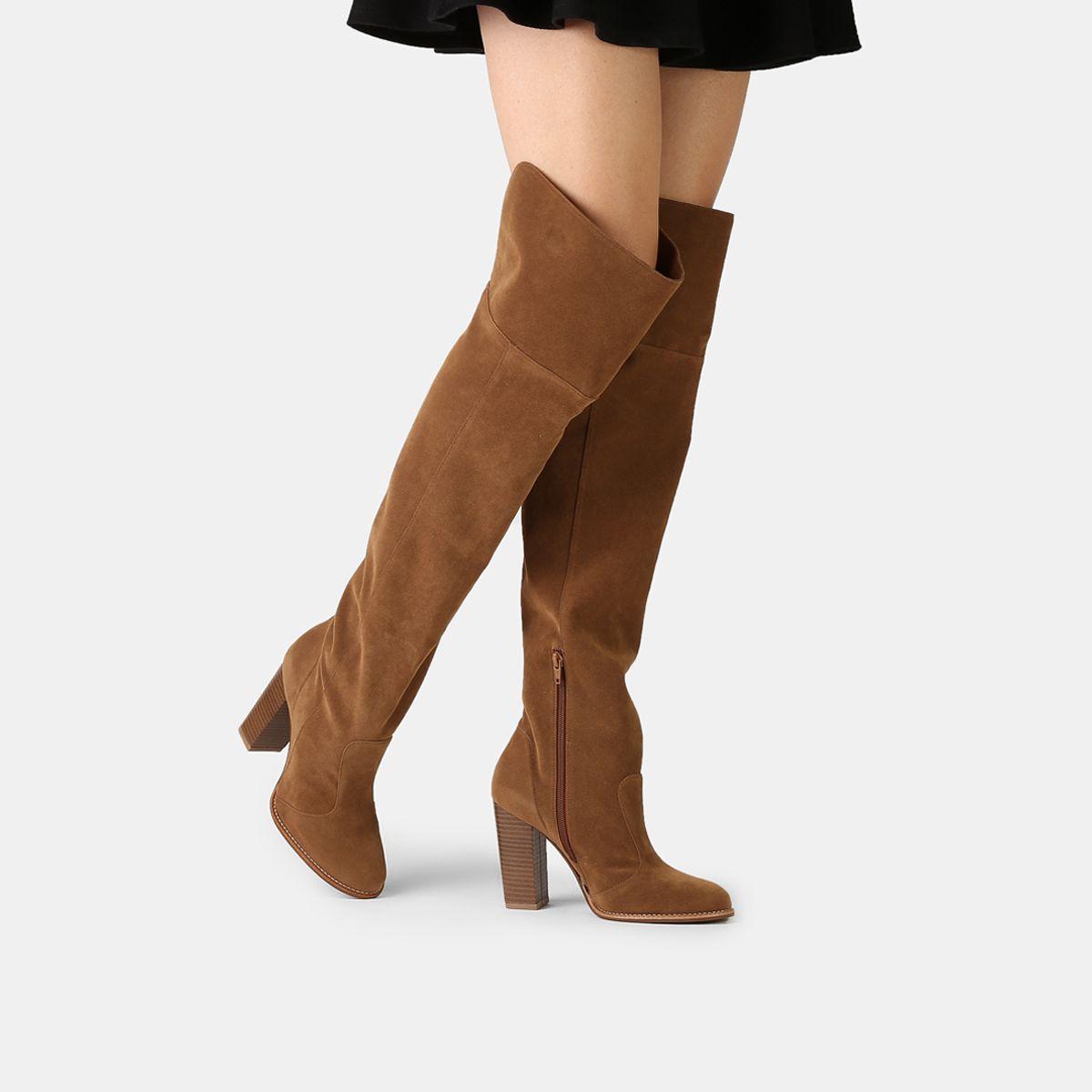 b49adad4c Compre Bota Mixage Over the Knee Salto Grosso Caramelo na Zattini a nova  loja de moda