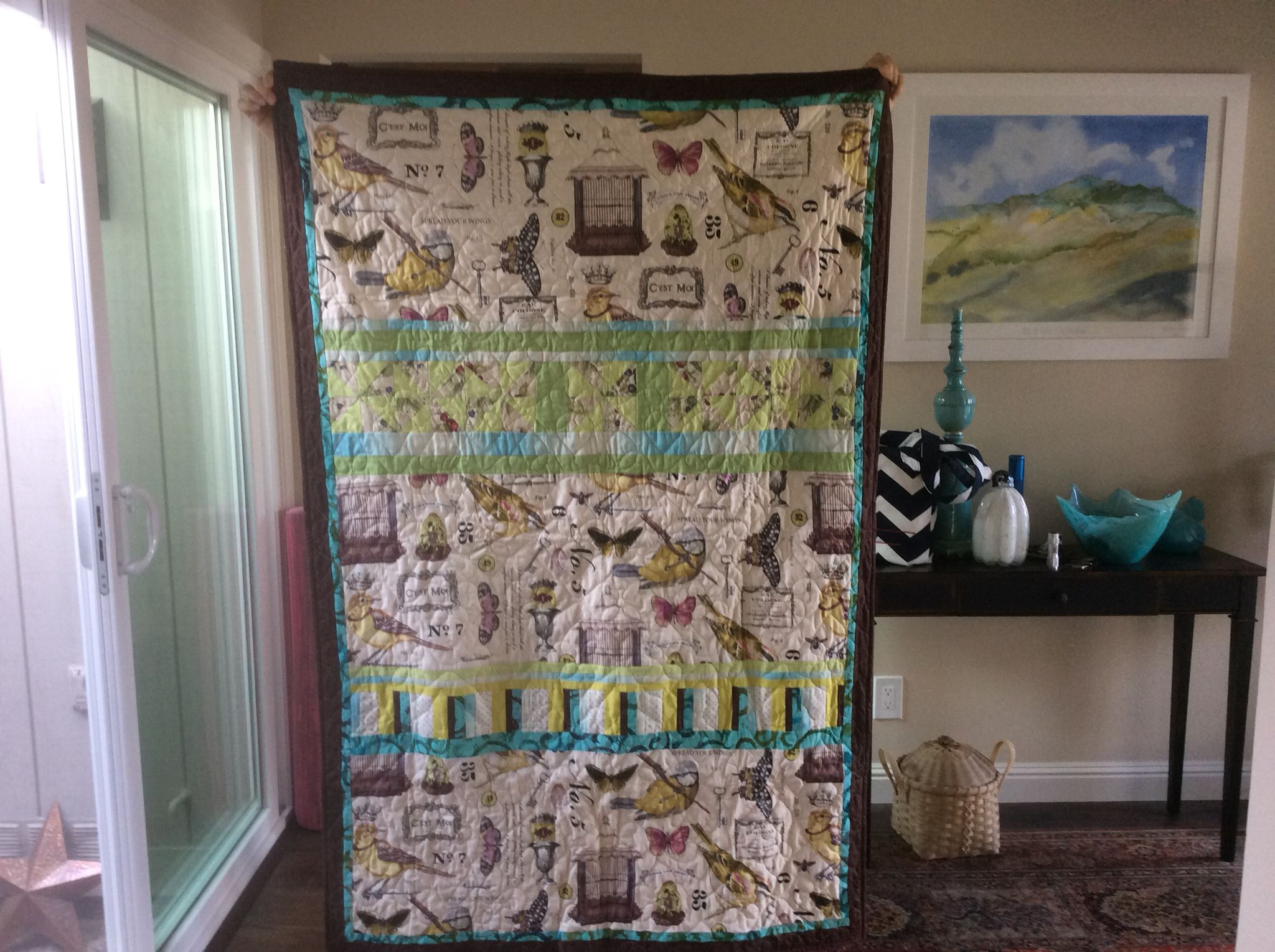 Quilt for Kathryn. Birds and birdcages.