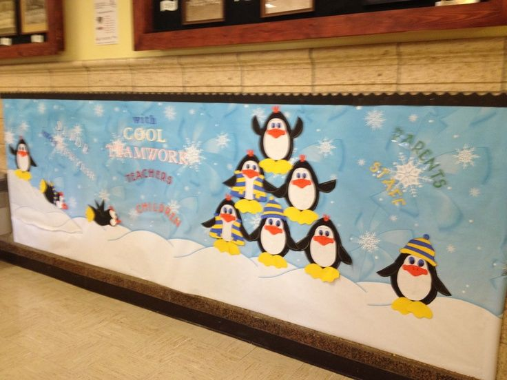 Winter Bulletin Board Ideas | Winter / January | like these penguins with scarf/hats