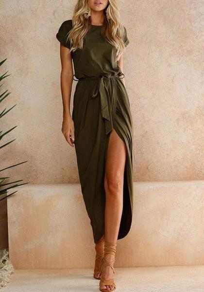 Legergroene Maxi Jurk.Army Green Sashes Irregular Round Neck Short Sleeve Loose Maxi Dress