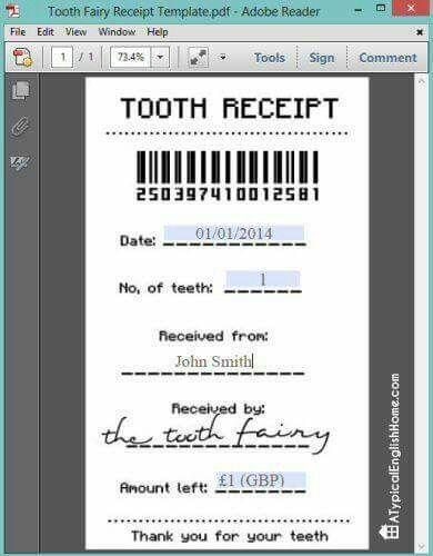 Tooth Receipt Tooth Fairy Receipt Tooth Fairy Tooth Fairy Receipt Printable