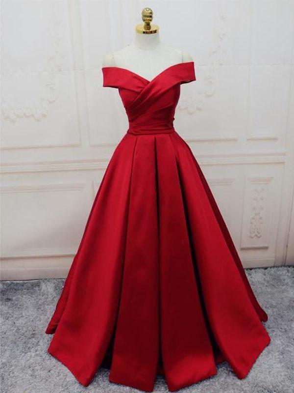 a9ffff0f27c Simple Red Off Shoulder A line Long Custom Evening Prom Dresses ...