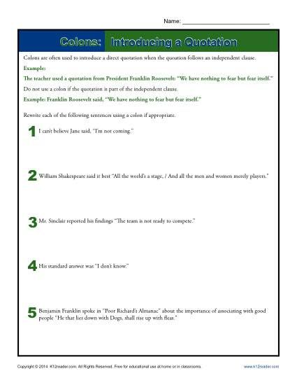 Colons Introducing A Quotation  Worksheets Quotation