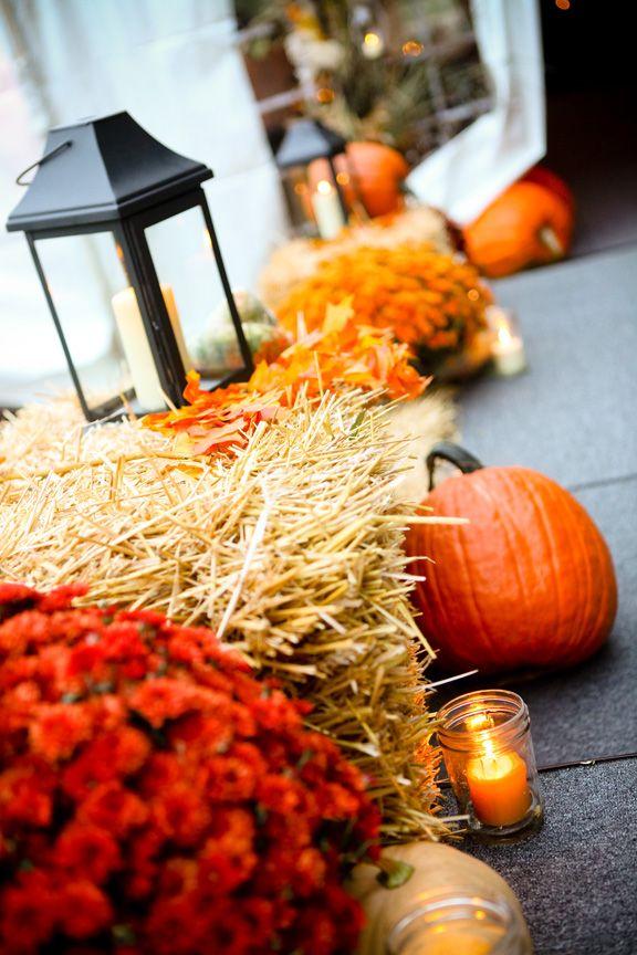 lanterns, pumpkins, mums, hay everything I love about Autumn