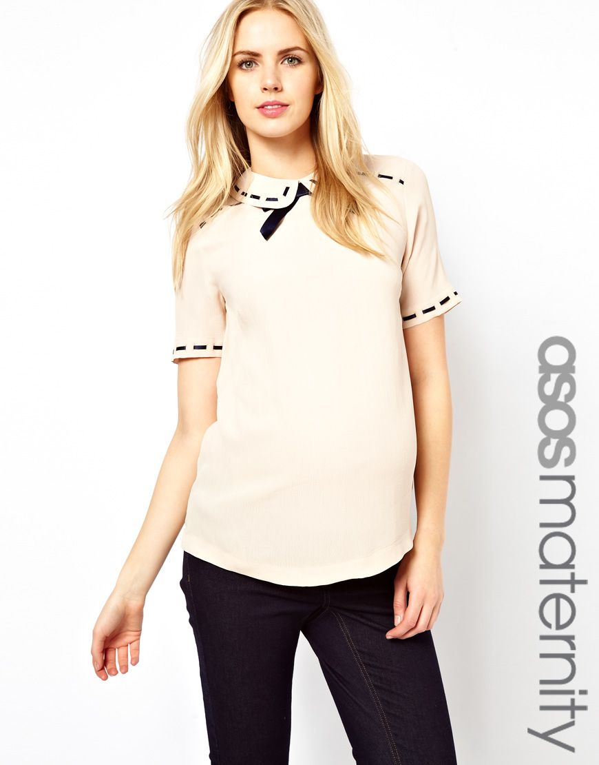 63696fc6c070 ASOS Maternity Blouse With Ribbon Detail And Contrast Bow