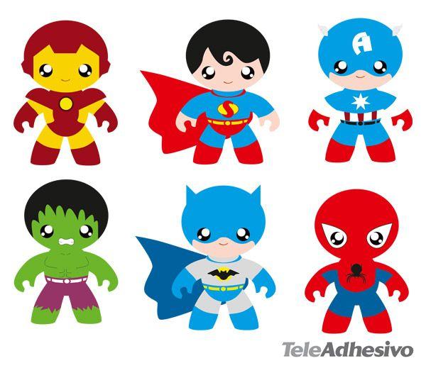 Superheroes vinilos infantiles kit h roes 2 super for Plafones de pared infantiles
