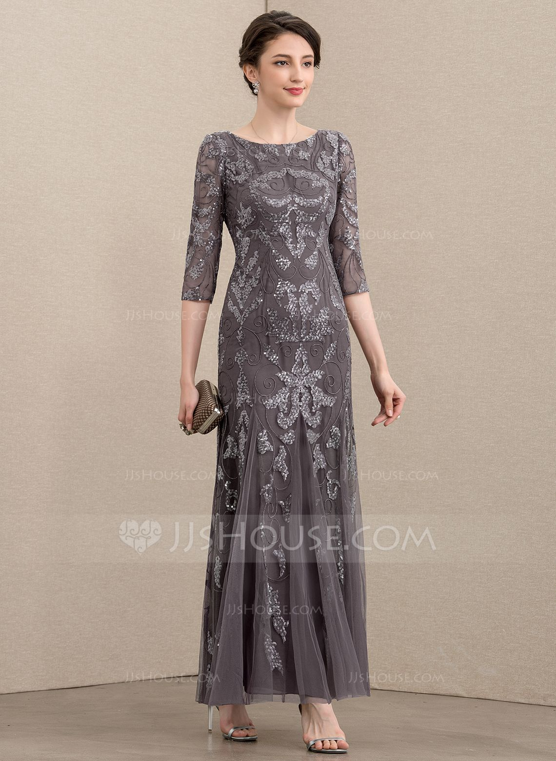 Au 360 00 Sheath Column Scoop Neck Ankle Length Tulle Sequined Mother Of The Bride Dress Jj S House Mother Of The Bride Dresses Beaded Dress Long Mother Of Groom Dresses