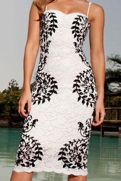 White Spaghetti Strap Plant Print Dress