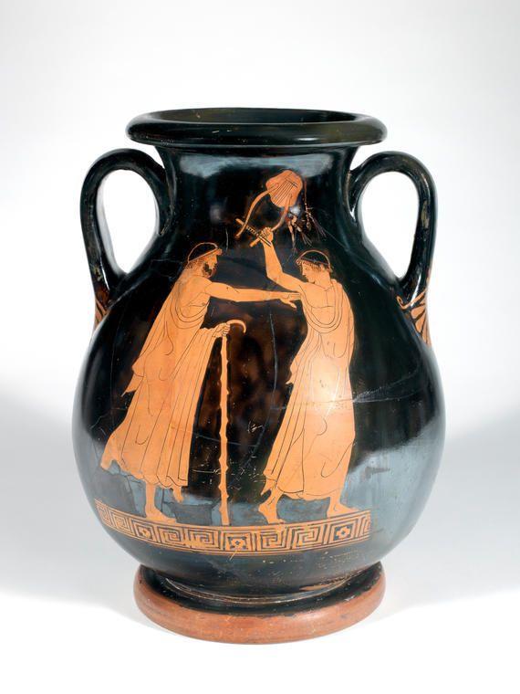 Aigisthos (Aegisthus) Painter (fl. c. 480 - c. 460 BCE), Fitzwilliam Museum, Cambridge 37.26 (previous) GR26.1937 (current) (475-460 BCE). Red-figure pelike. Side A.