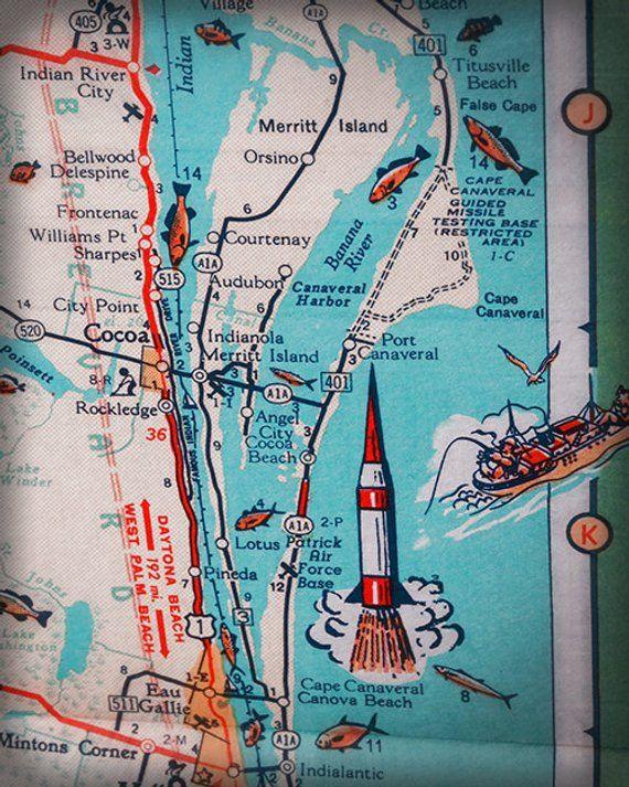 Where Is Merritt Island Florida On The Map.Cocoa Beach Cape Canaveral Merritt Island Retro Beach Map Print