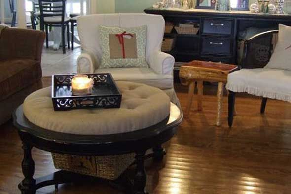 Buy Sew A Cushion As A Table Topper To Update An Old Coffee Table Coffee Table Makeover Table Makeover Coffee Table