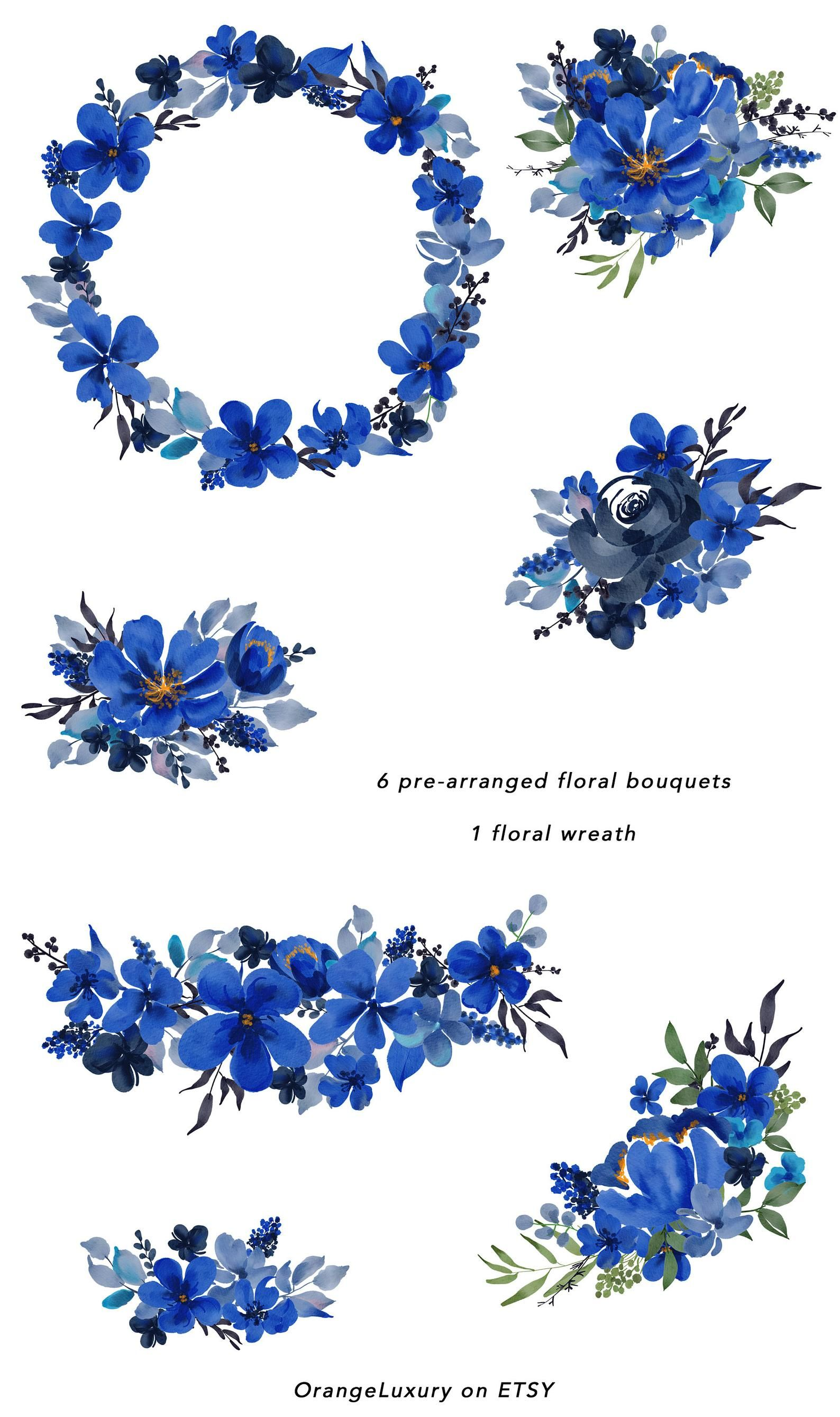 Watercolor Blue Flowers Indigo Floral Clip Art Navy Blue Etsy In 2021 Flower Aesthetic Blue Flower Wallpaper Blue Flowers