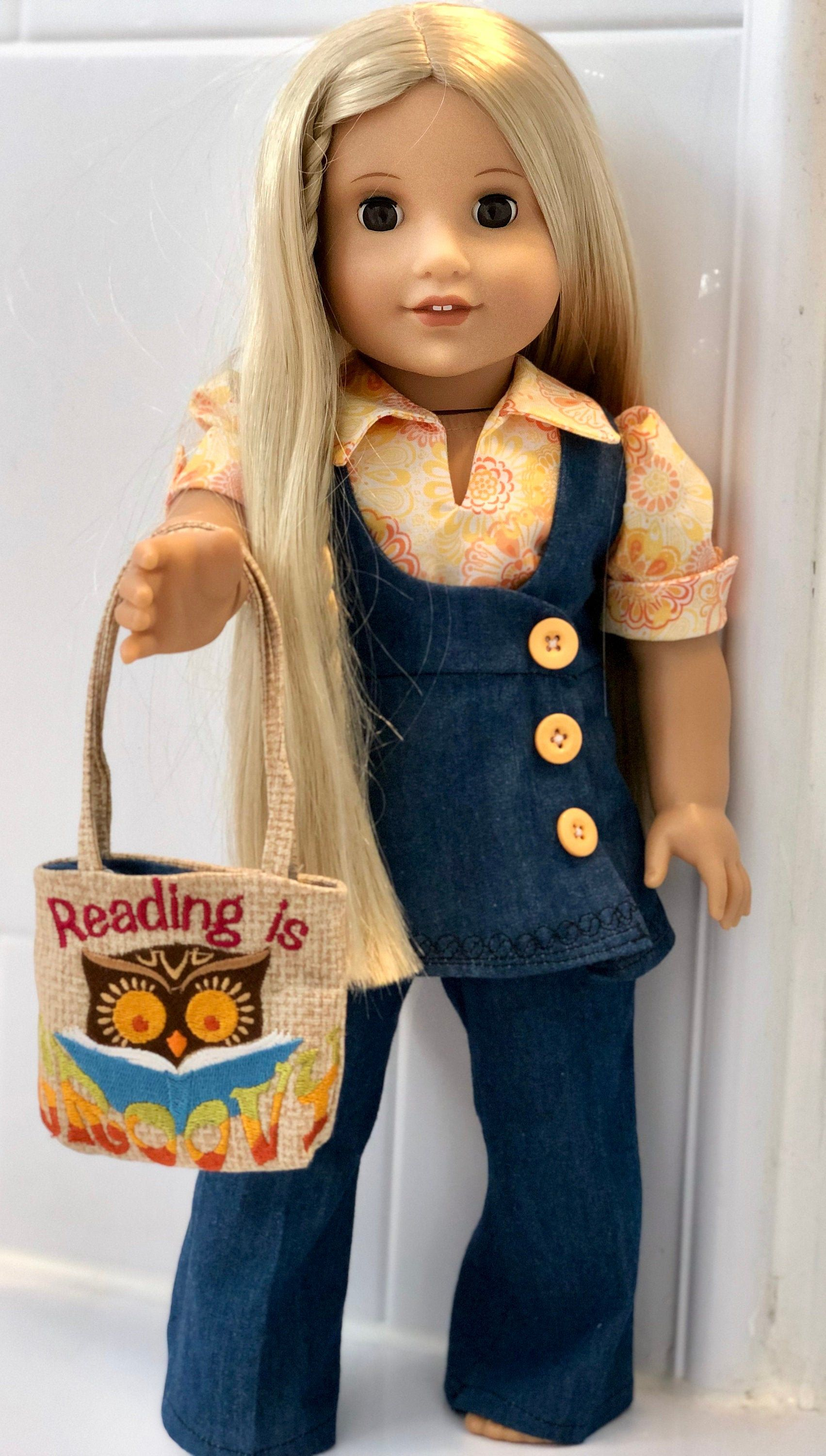 Retro 1970's Style Denim Suit and Blouse with Book Bag for 18 Dolls such as American Girl #americandolls