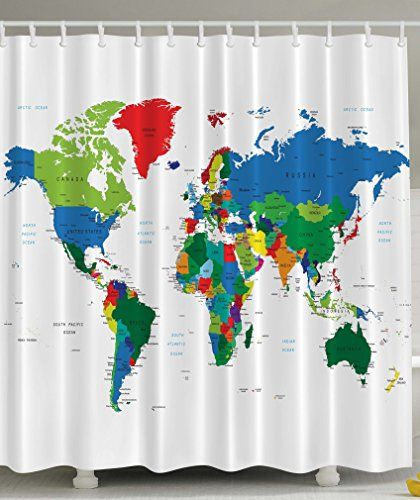 Ambesonne World Map Geologist Gifts Educational Geographical Earth Journeys Voyager Novelty Modern Home Designer Bath Accessories