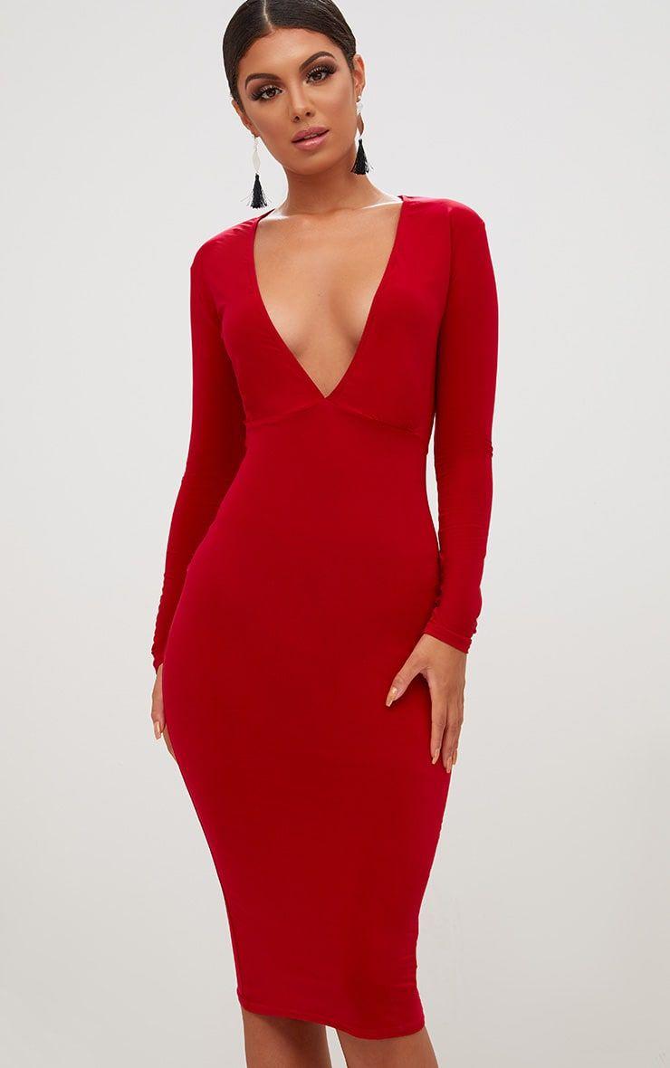 Red Long Sleeve Plunge Slinky Midi Dress Plunge Midi Dress Slinky Dress Red Midi Dress