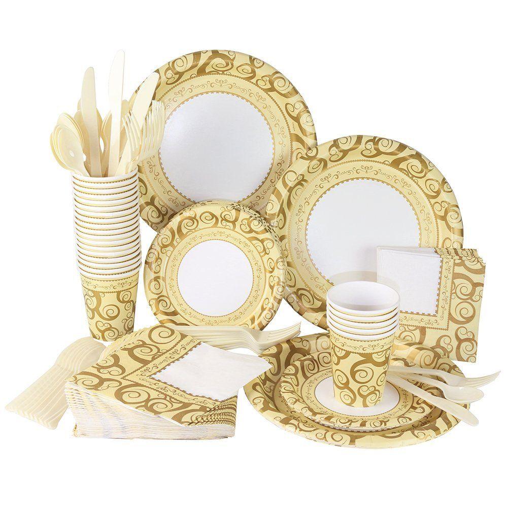 Amazon.com   241 Piece Disposable Dinnerware Set - Paper plates Cups Napkins  sc 1 st  Pinterest & Amazon.com   241 Piece Disposable Dinnerware Set - Paper plates ...