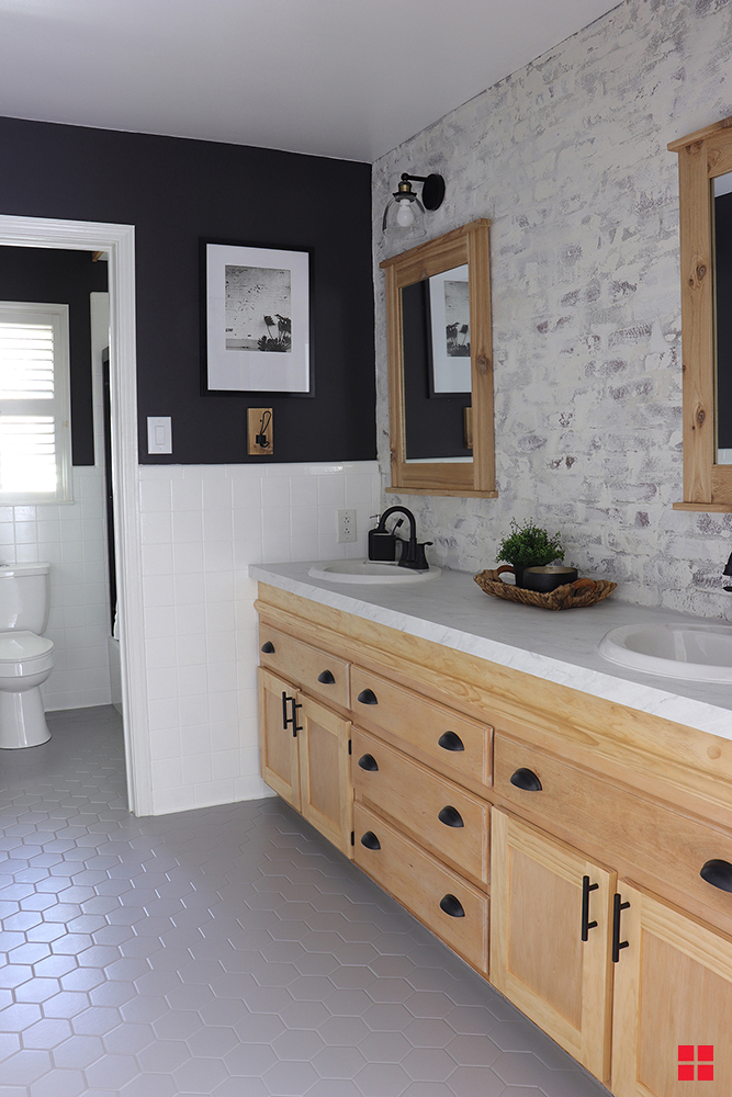 diy painted bathroom floor in 2020  diy bathroom makeover