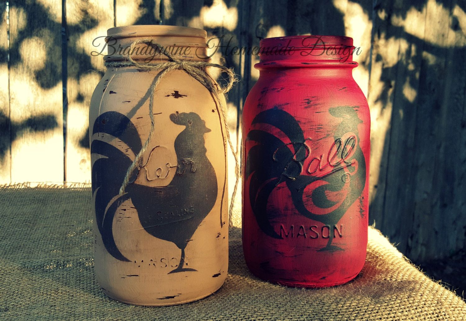 Distressed Mason Jar, Chalk Painted, Rooster Stencil