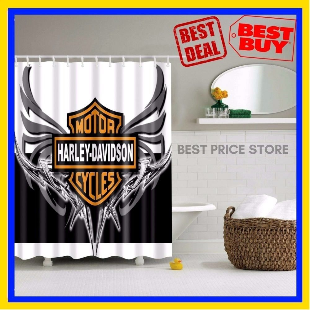 Bathroom Vanities Curtain Harley Davidson Logo Pattern Waterproof