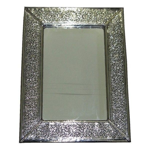 Miroir marocain maillechort argente 81x55 cm riad maroc for Miroir argente