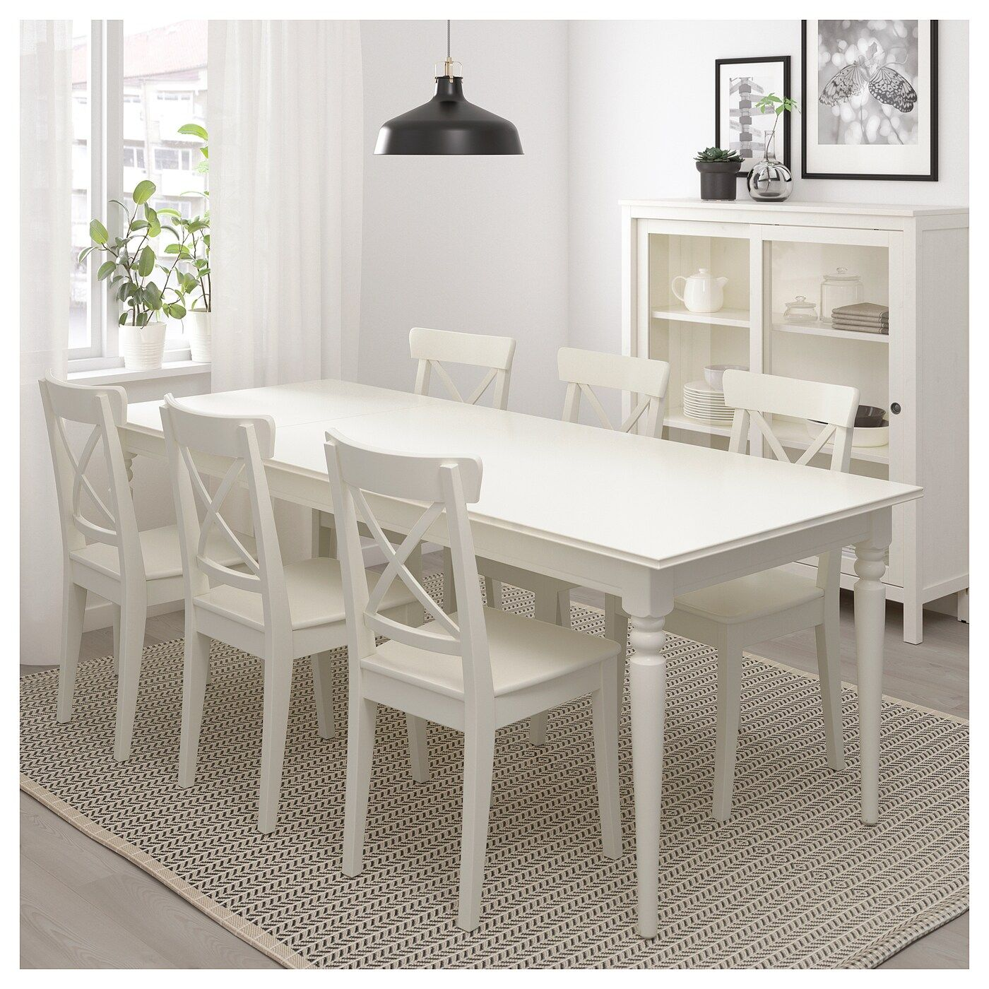 Ingatorp Extendable Table White 61 84 5 8x34 1 4 In 2020 Table Dining Room Walls Furniture