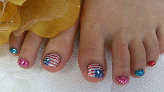 Explore Toenail Art Designs, Pedicure Designs, and more! - July 4th Nail Art Makeup & Nails Pinterest