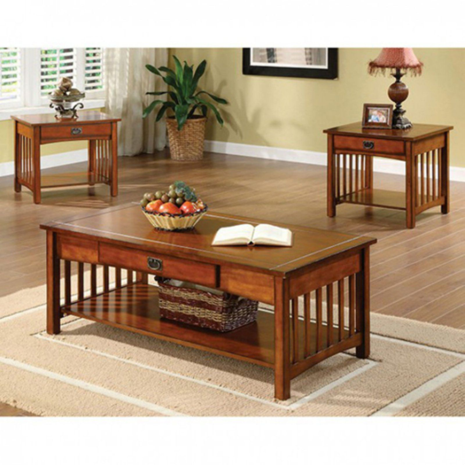 Benzara Seville 3 Piece Coffee Table Set Mission Style Furniture Mission Style Living Room Coffee Table [ 1600 x 1600 Pixel ]