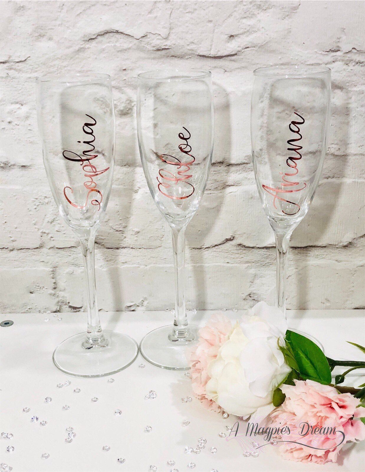 Personalised White Or Pink Prosecco Flutes