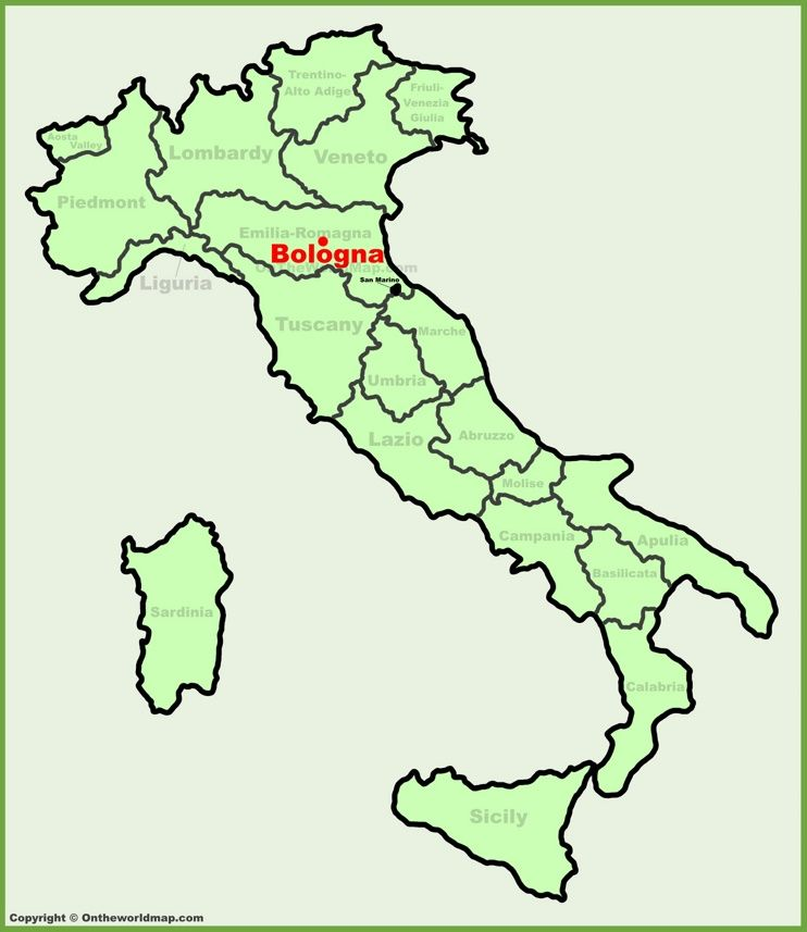 Bologna location on the Italy map Maps Pinterest