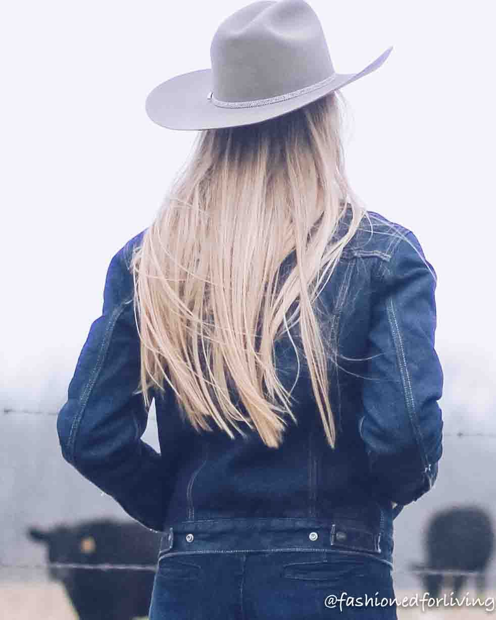 womens cowboy hat outfit with denim
