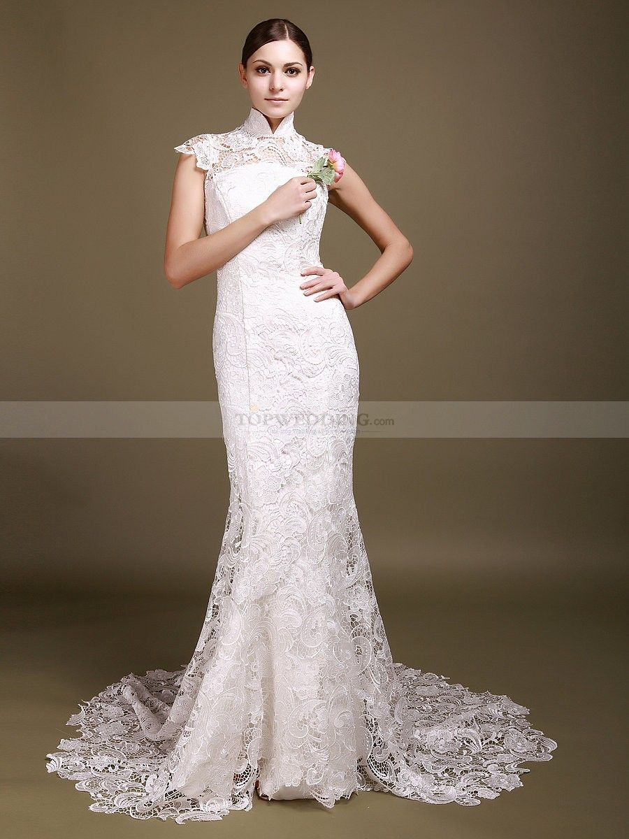 High Neck Allover Lace Mermaid Wedding Dress with Backless Detail ...